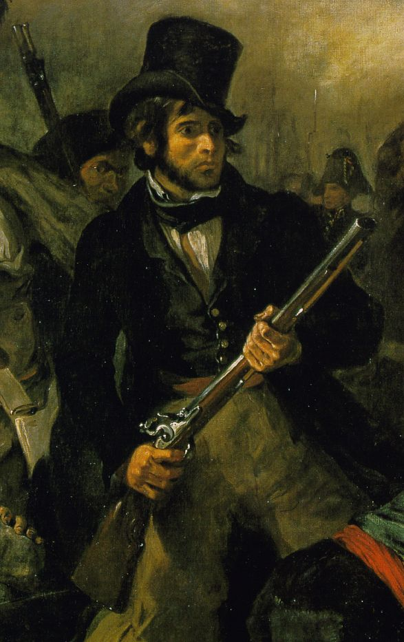 Detail: Delacroix's self-portrait as 'garde national'.