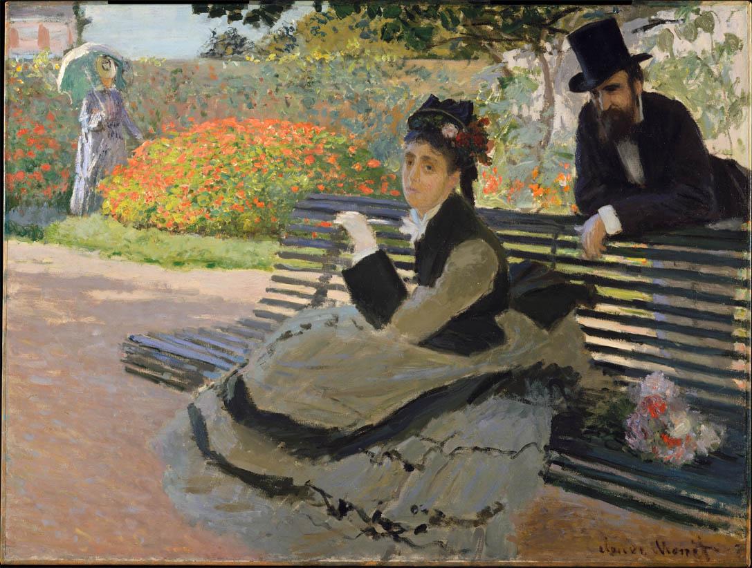 Camille monet assise sur un banc de jardin 1873 the - Banc de jardin plastique ...