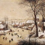 Winter Landscape with Skaters and Bird Trap (c. 1565)