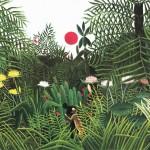 Forêt vierge au soleil couchant, Nègre attaqué par un léopard