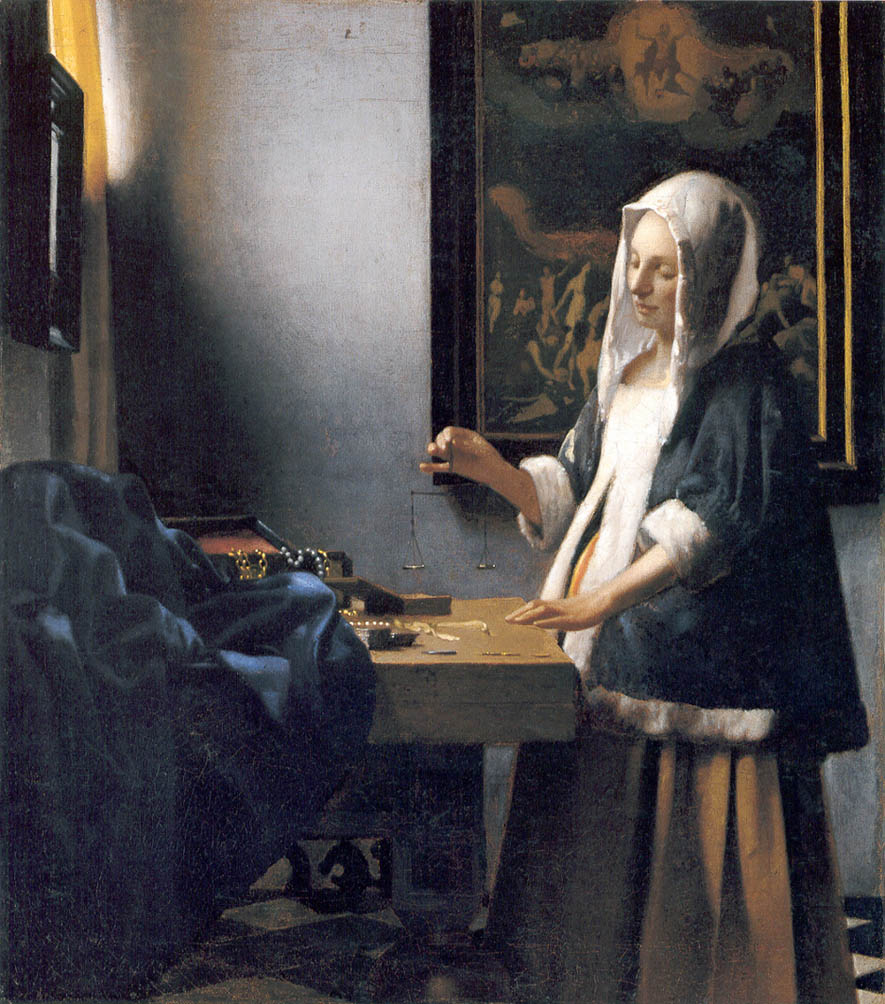 Woman Holding a Balance (c. 1664)