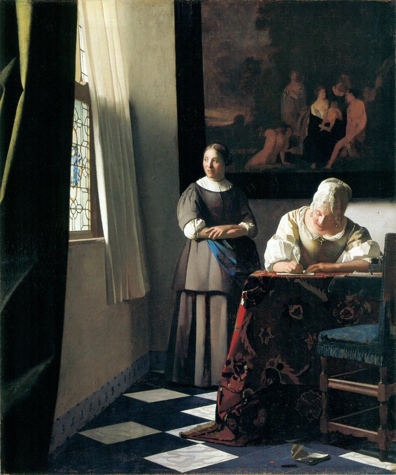 Woman Writing a Letter, with her Maid (c. 1670)