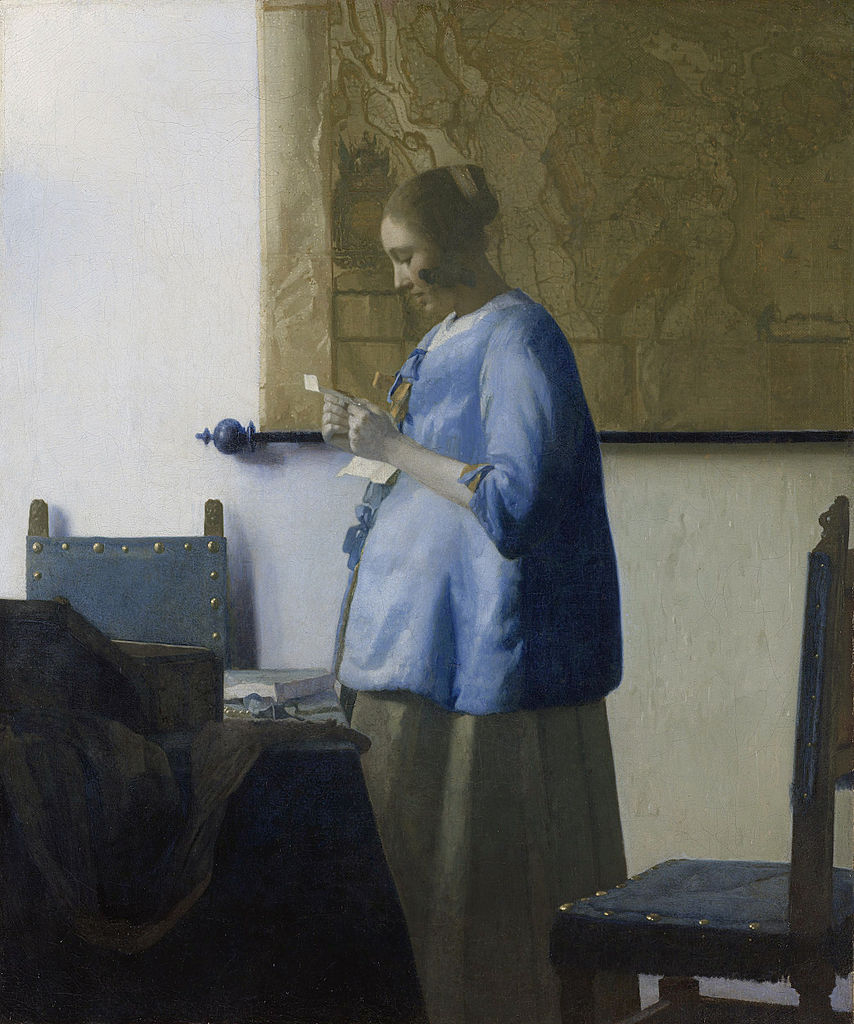Woman in Blue Reading a Letter (1663)