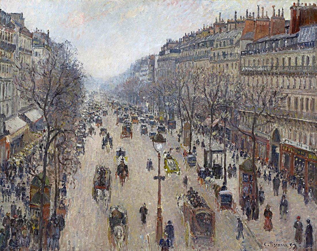 Boulevard Montmartre, matin, temps gris (1897)