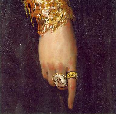 La Duquesa de Alba (1797-detail of hand)