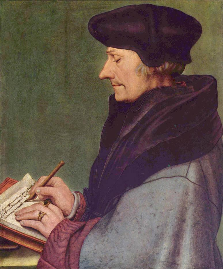 Erasmus of Rotterdam writing (1523)