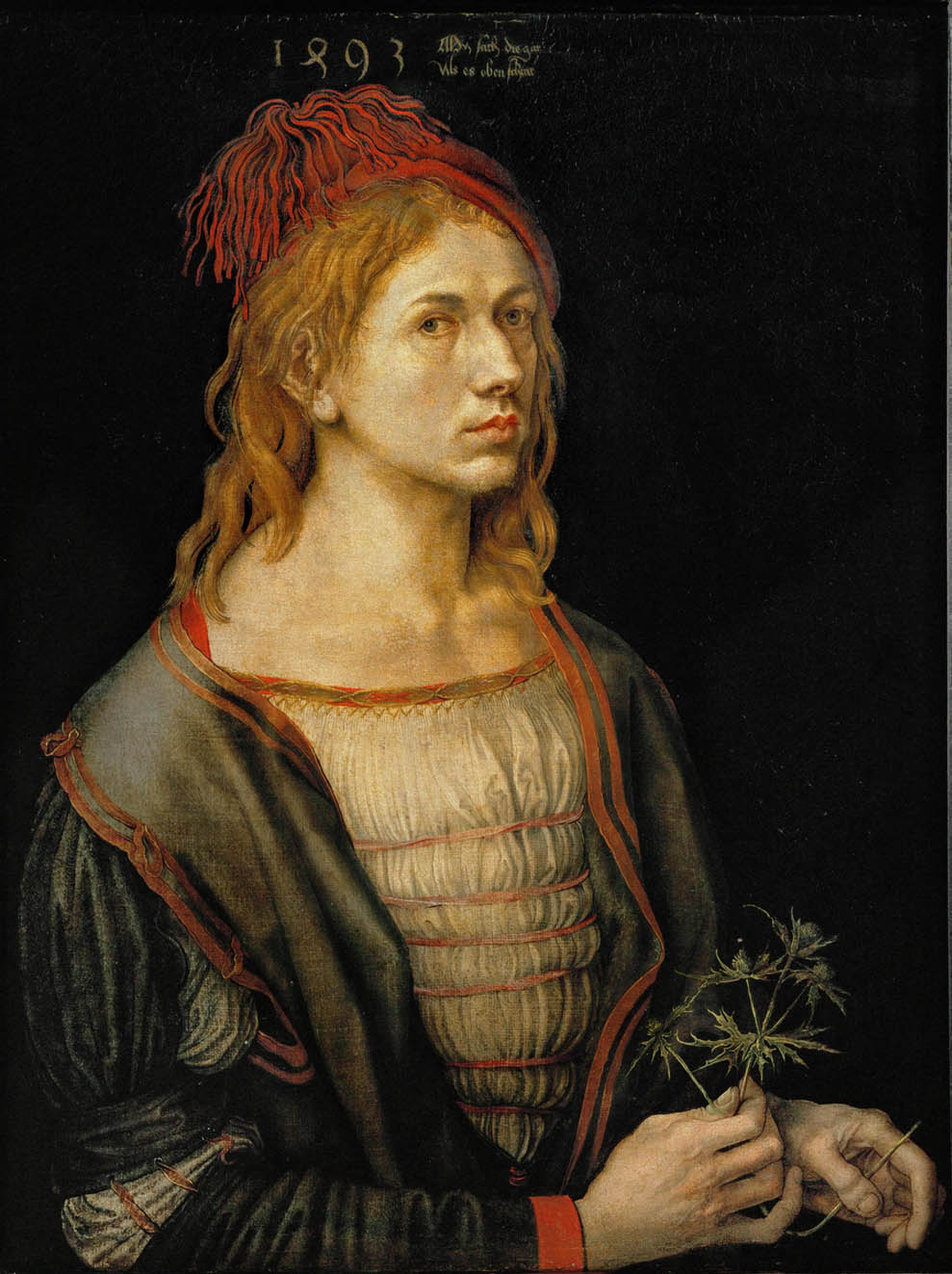 Self-Portrait or Portrait of the Artist Holding a Thistle (1493)