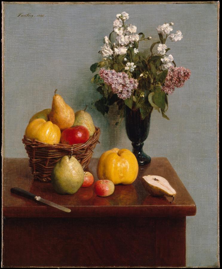 Nature morte aux fleurs et fruit (1866)