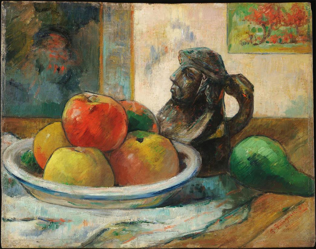 Nature morte avec pommes, une poire et une cruche en forme de tête (1889)