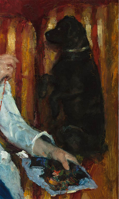 Woman on a Striped Sofa with a Dog (1876-d-2)