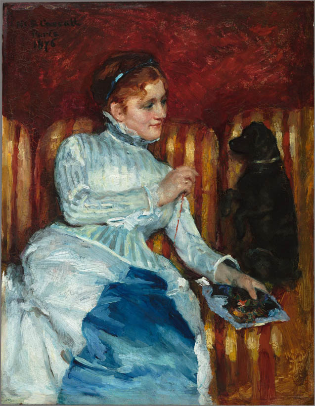 Woman on a Striped Sofa with a Dog (1876)