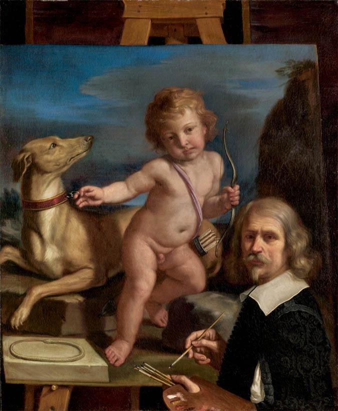 Autoritratto mentre dipinge Amore fedele (1655)