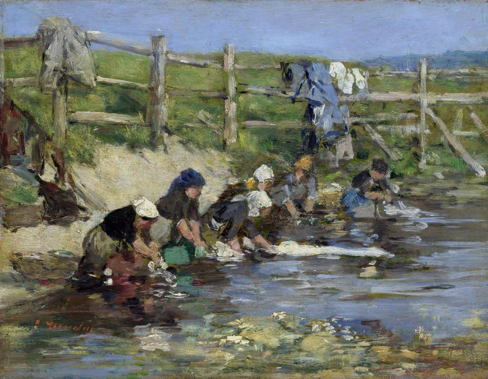Blanchisseuses près d'un ruisseau (1885-1890)