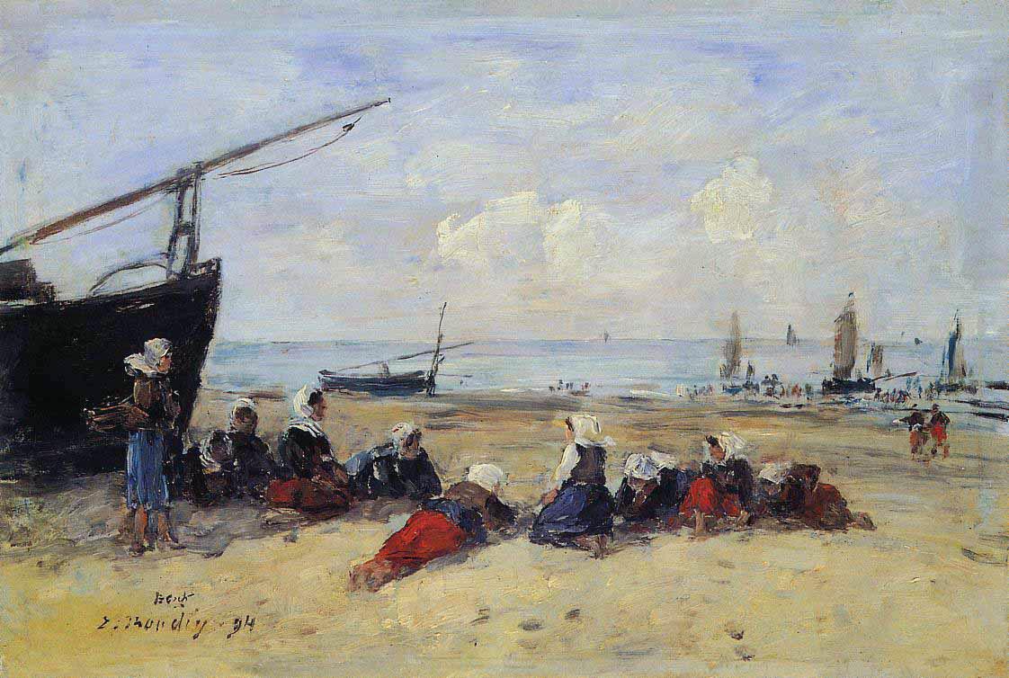 Berck, pêcheuses sur la plage, marée basse (1894)