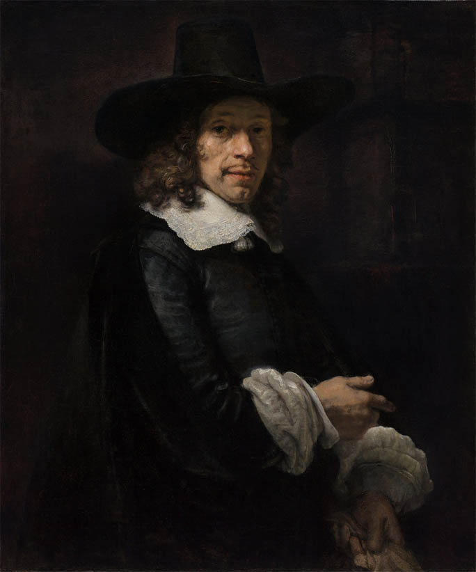 Portrait of a Gentleman with a Tall Hat and Gloves (1658-1660)