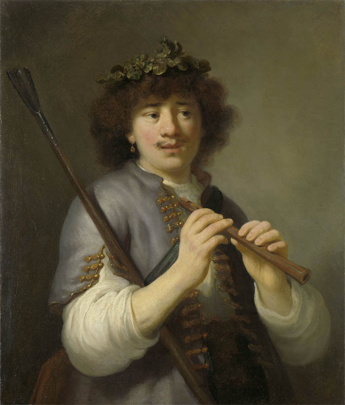 Rembrandt as Shepherd with Staff and Flute (1636)