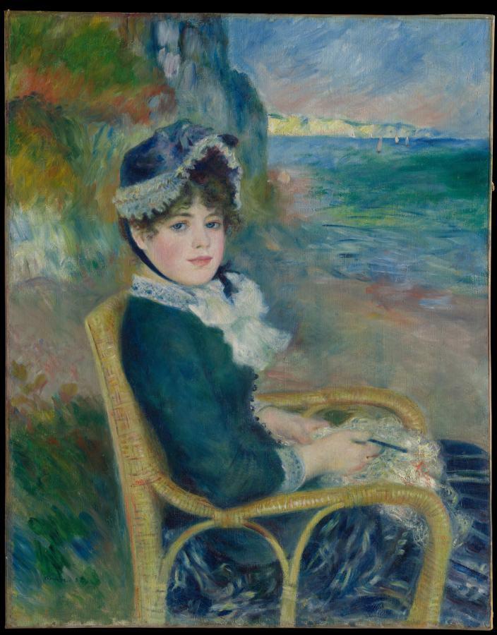 Femme assise au bord de la mer (1883)