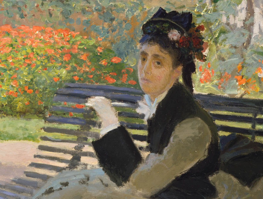 Camille monet assise sur un banc de jardin 1873 the for Banc jardin pierre