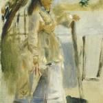 Femme près d'une clôture (1866)
