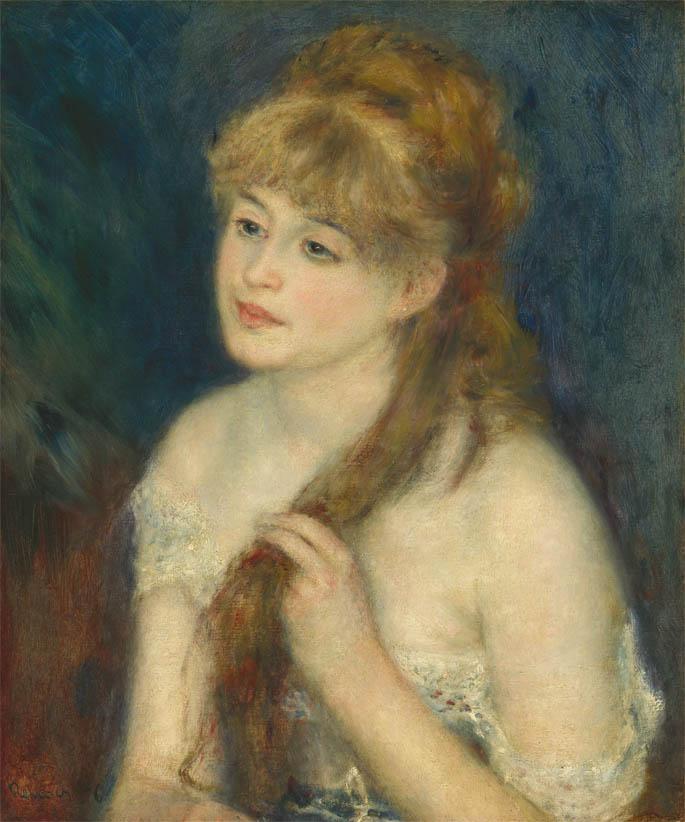 Jeune femme tressant ses cheveux (1876)
