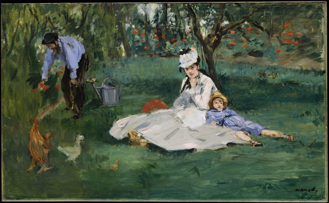 La famille Monet dans leur jardin à Argenteuil (1874)