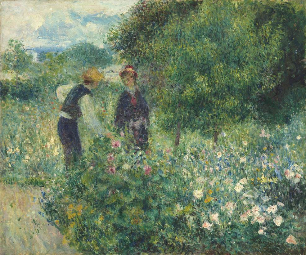 Personnages cueillant des fleurs (1875)