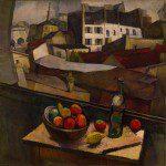 Cuchillo y fruta frente a la ventana (1917)