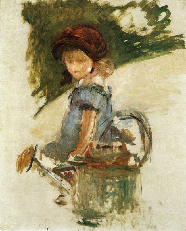 Julie Manet assise sur un arrosoir (1882)