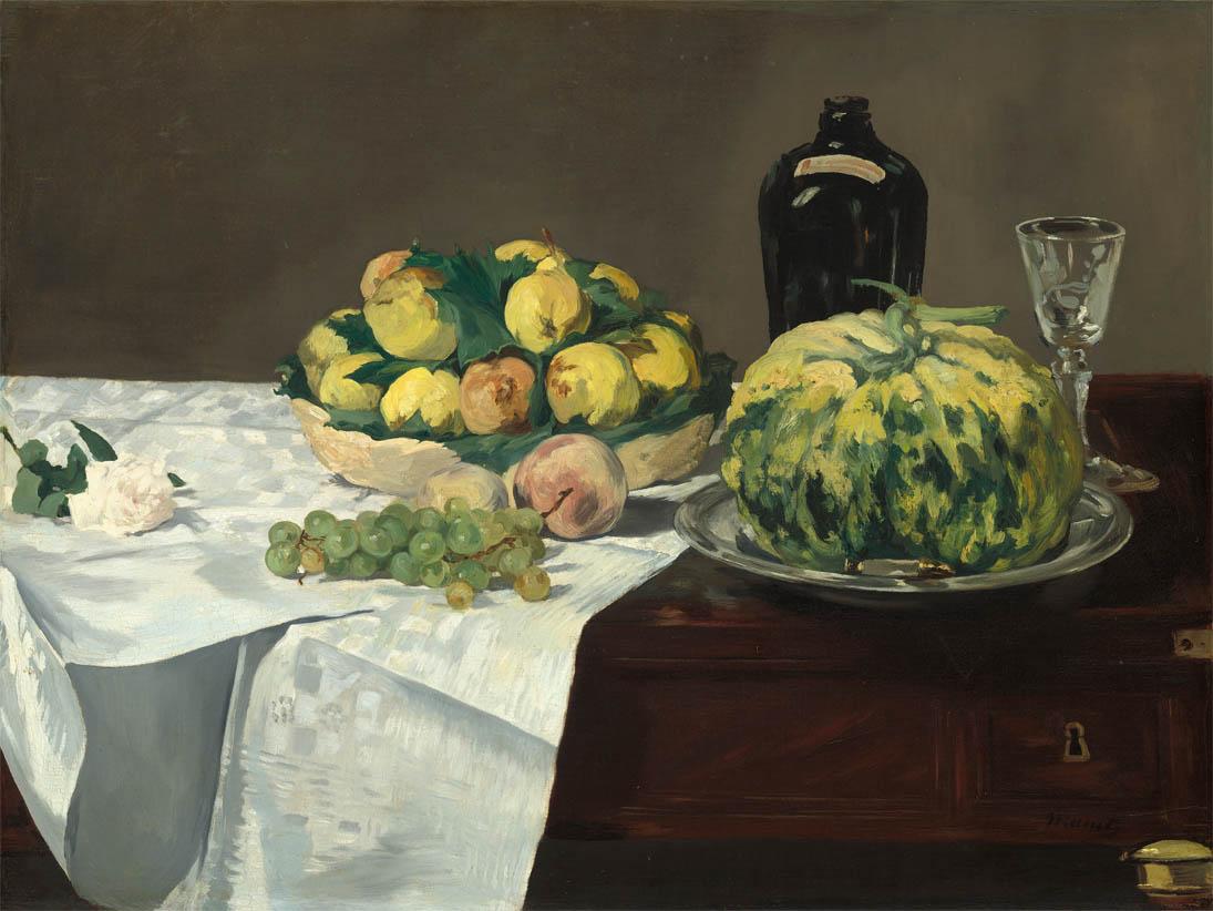 Nature morte au melon et aux pêches (1866)