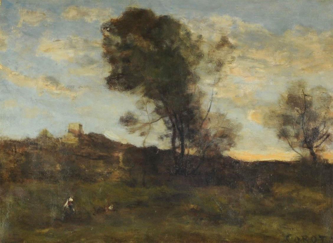 Derniers rayons du soleil derrière la tour (c1870)