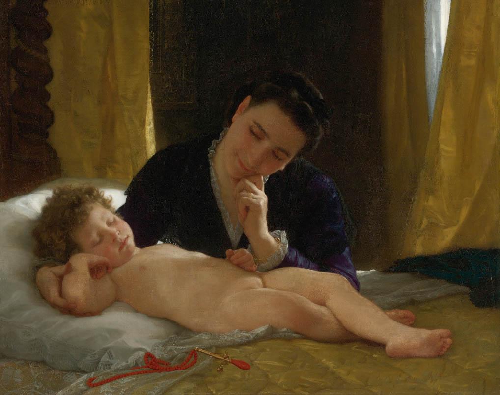 Jeune mère contemplant son enfant (1871)