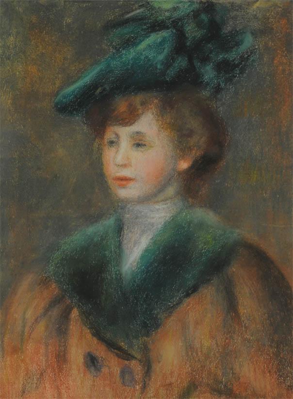 Jeune femme au chapeau vert