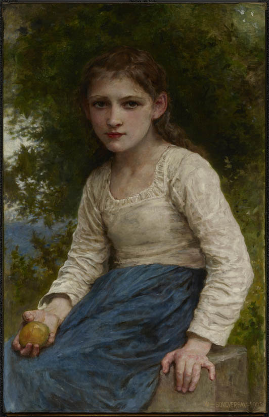 Une Fille French Teenage Fashion For Spring 2016: Jeune Fille Assise Tenant Une Pomme (1905)