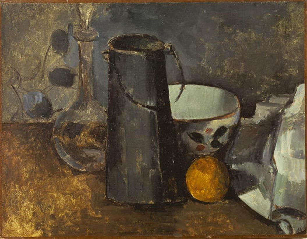 Nature morte avec carafe, bidon de lait, bol et orange (1879-1880)
