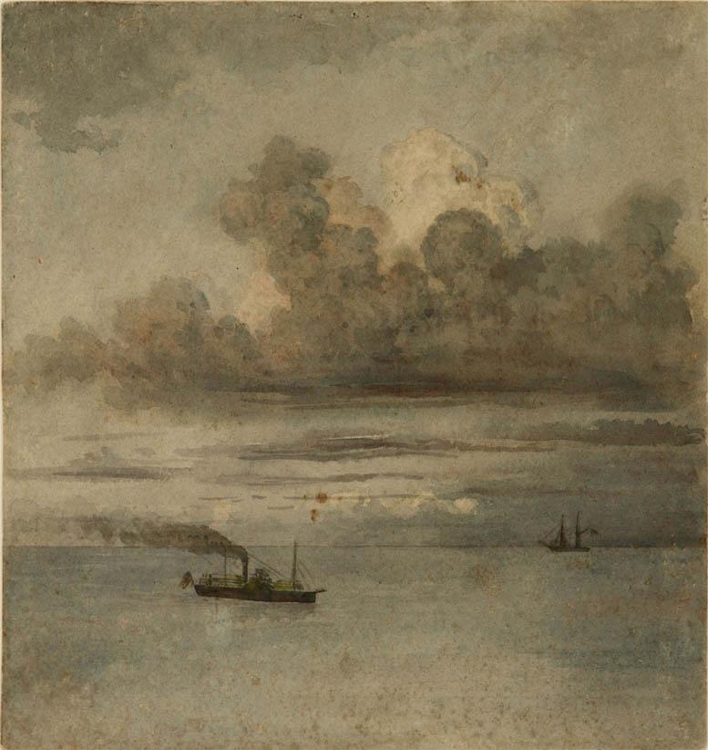 Paisaje con barcos (1862)