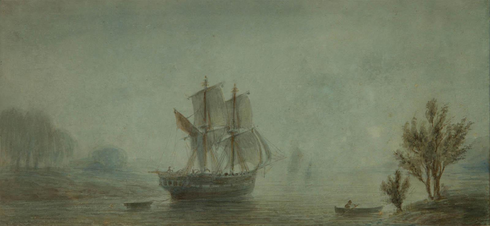 Paisaje de la costa con veleros