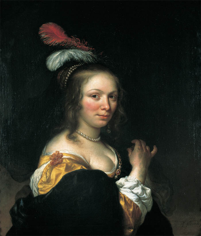 Portrait of a Young Woman with a Feathered Hat